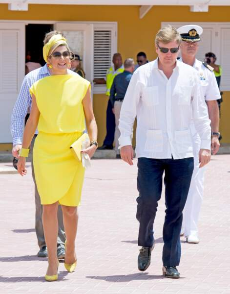 Willem-Alexander et Maxima des Pays-Bas lors d'un voyage officiel aux Antilles Néerlandaises, le 30 avril 2015