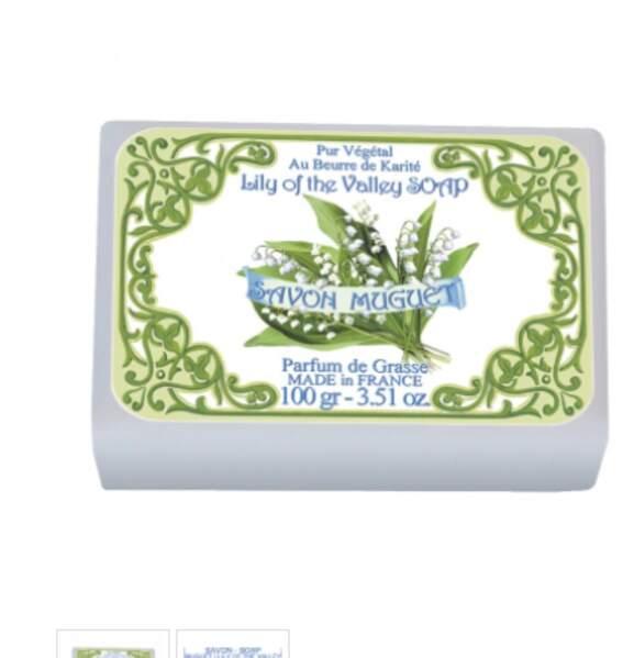 Enveloppé dans un ravissant papier illustré : Savon Muguet, 100 gr, 3,60€, sur leblanc-france.fr