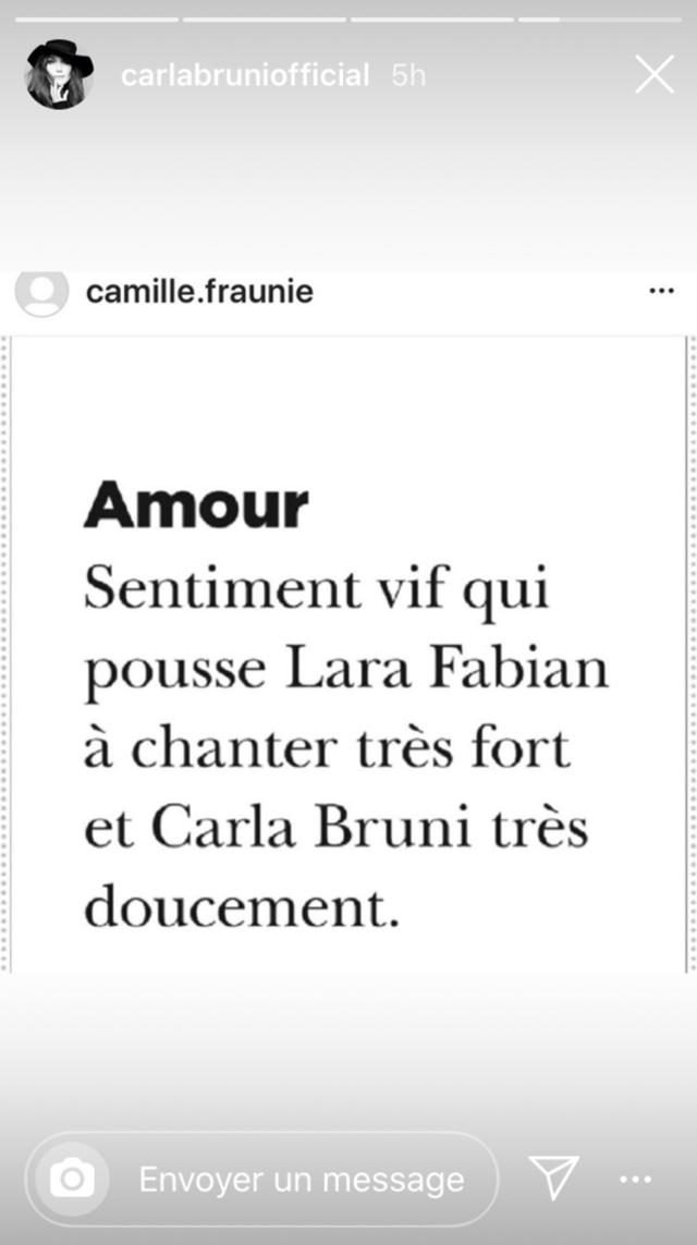 Carla Bruni-Sarkozy a repris, ce 29 avril, une définition atypique de l'amour dans une story Instagram.
