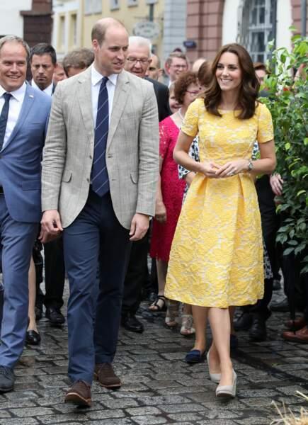 Le prince William et Kate Middleton, lors d'un voyage officiel en Allemagne, le 20 juillet 2017