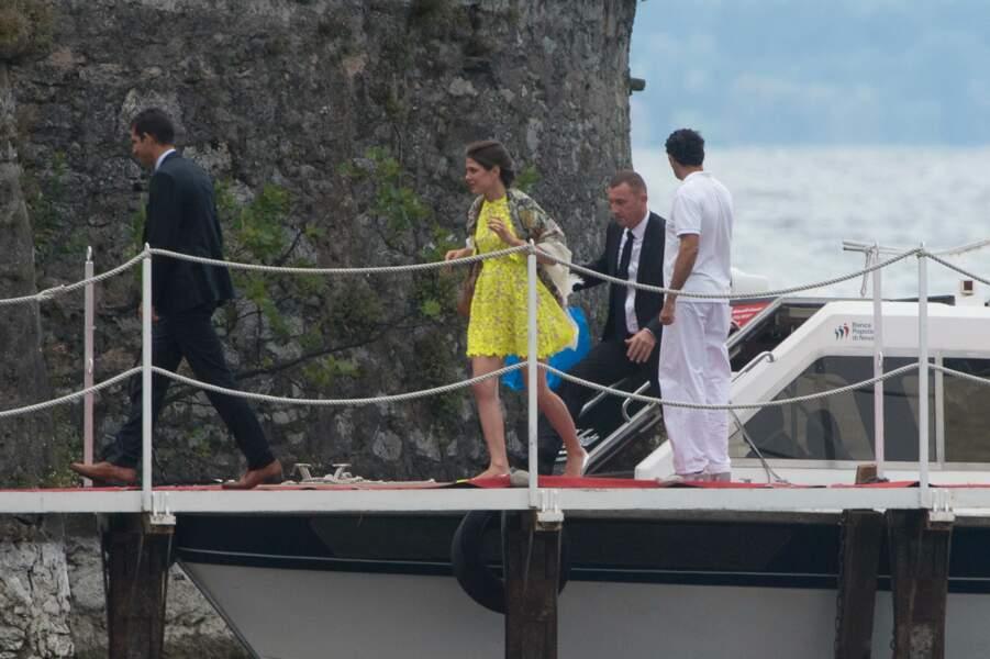 Charlotte Casiraghi assiste au mariage de son frère Pierre et de Beatrice Borromeo, le 1er août 2015 en Italie.