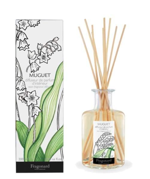 Un diffuseur magique pour garder l'odeur du muguet chez soi pendant des mois : Muguet, Fragonard, 200 ml, 30.00 €, fragonard.com