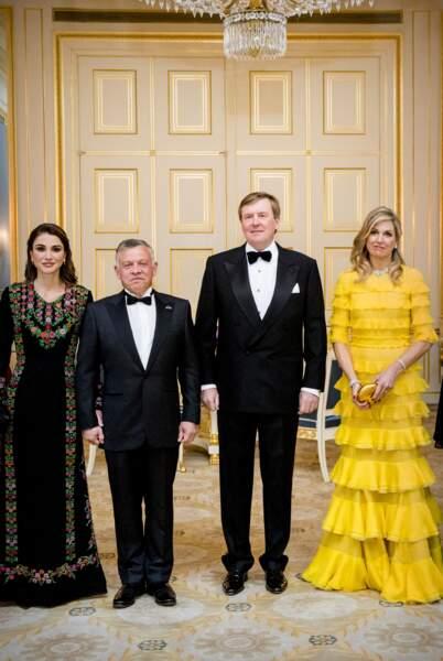 Rania et Abdallah  II de Jordanie, avec Willem-Alexander et Maxima des Pays-Bas, à La Haye, le 20 mars 2018