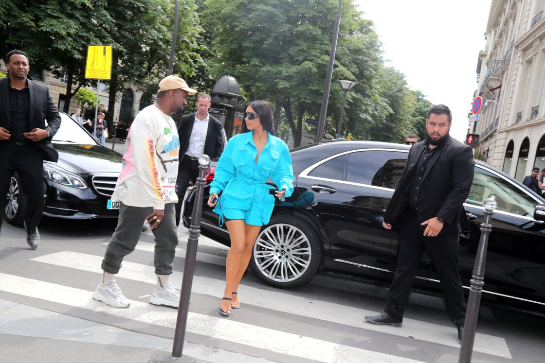 Kim Kardashian et Kanye West au défilé Louis Vuitton Homme à Paris, le 21 juin 2018