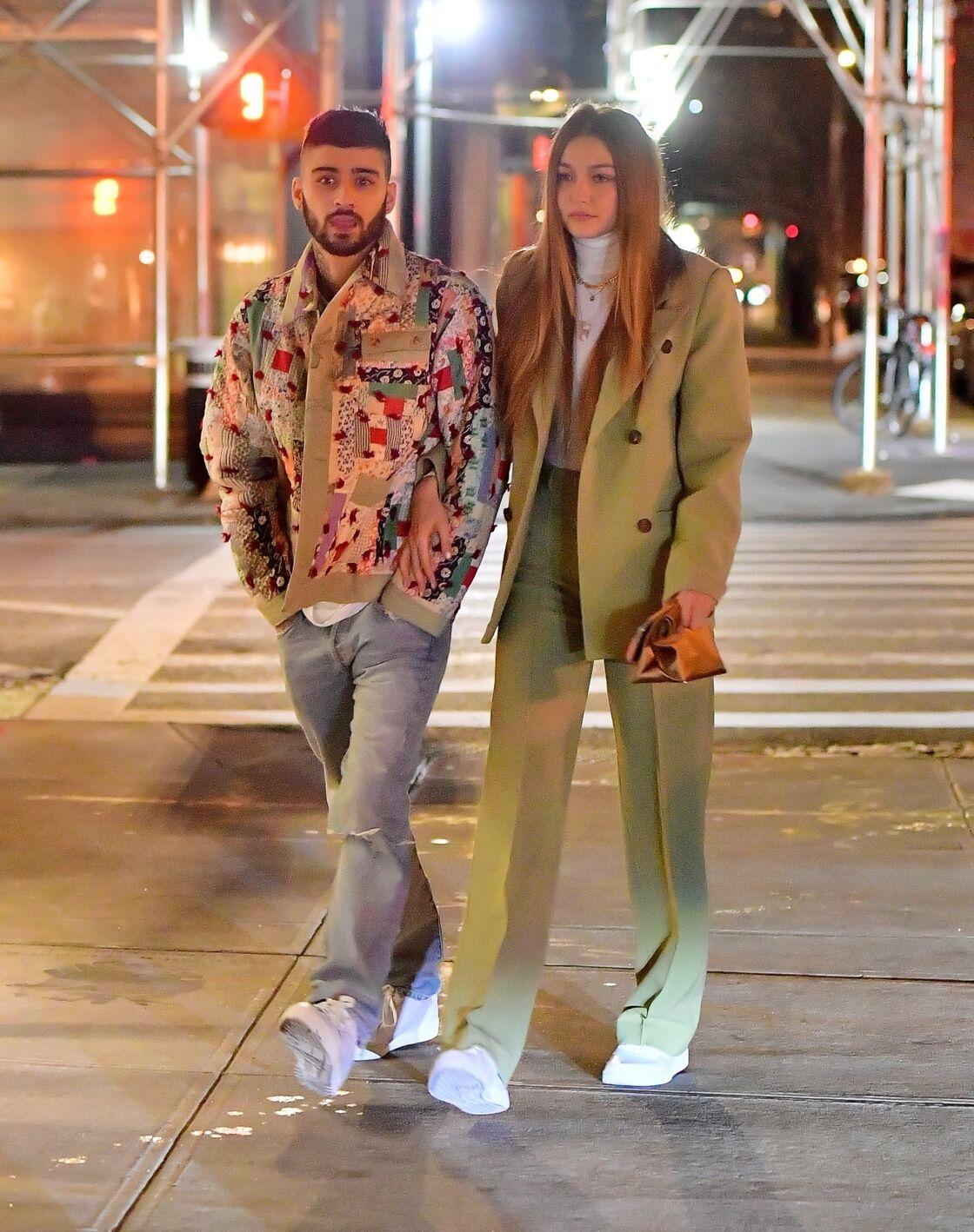 Gigi Hadid et Zayn Malik à New York, le 11 janvier 2020.