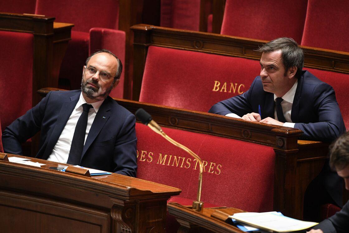Edouard Philippe et Olivier Véran à l'Assemblée, en 2020