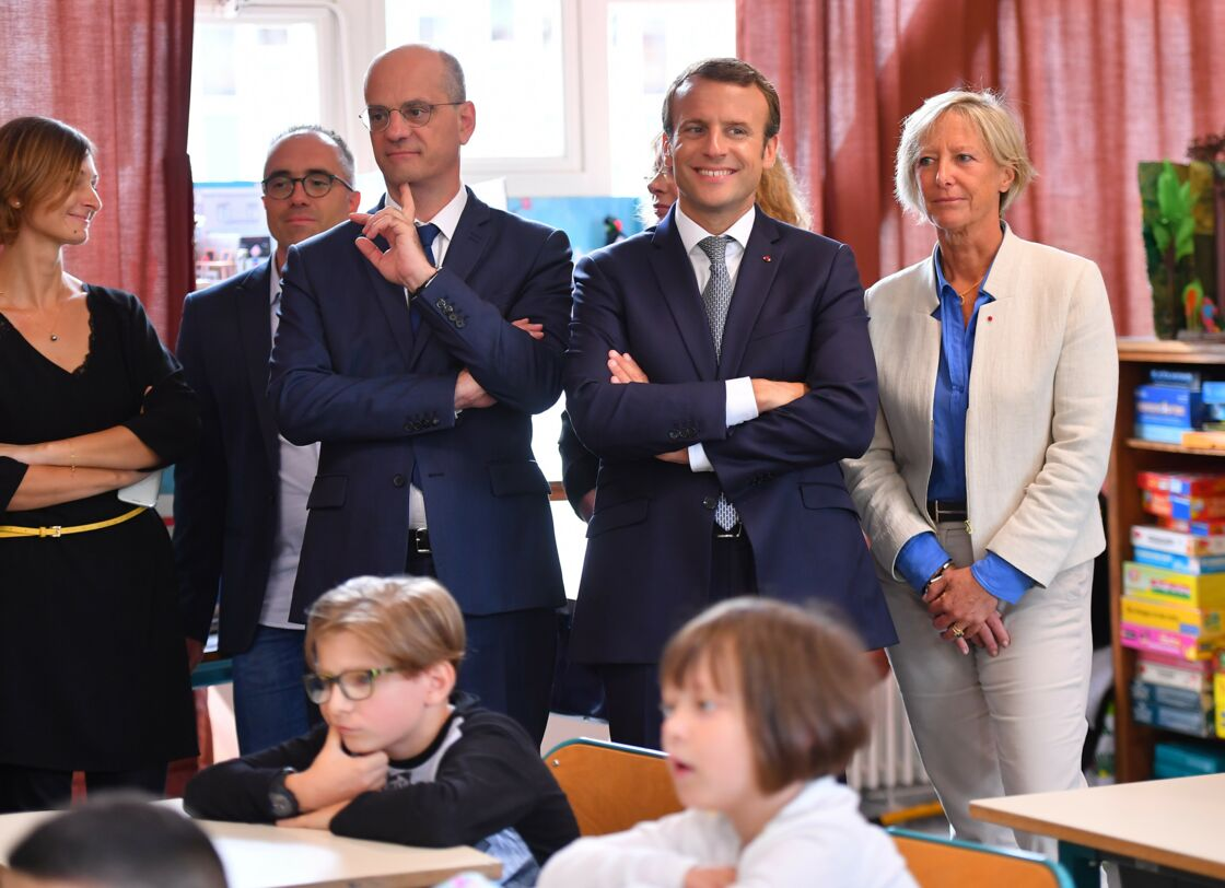 Jean-Michel Blanquer aux côtés d'Emmanuel Macron quelques mois après sa nomination
