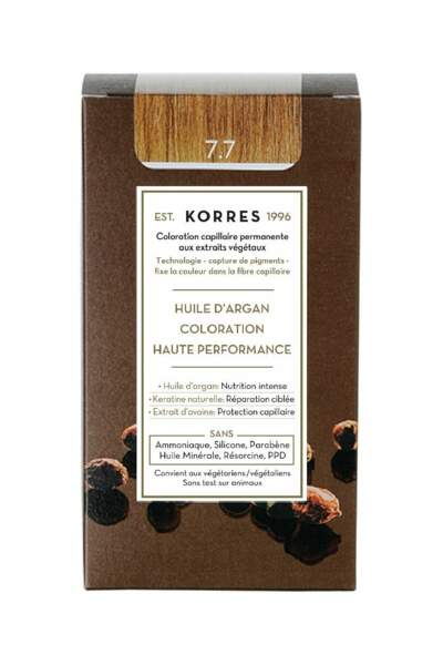 Coloration capillaire permanente aux extraits végétaux, Korres, 15,90€