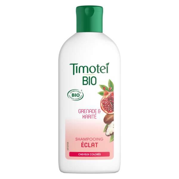 Shampooing éclat cheveux colorés, Timotei Bio, 250 ml, 4,49€