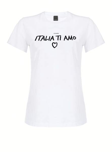 """T-shirt à manches courtes en jersey 100 % coton avec inscription """"Italia Ti Amo, 60€, Pinko.com"""