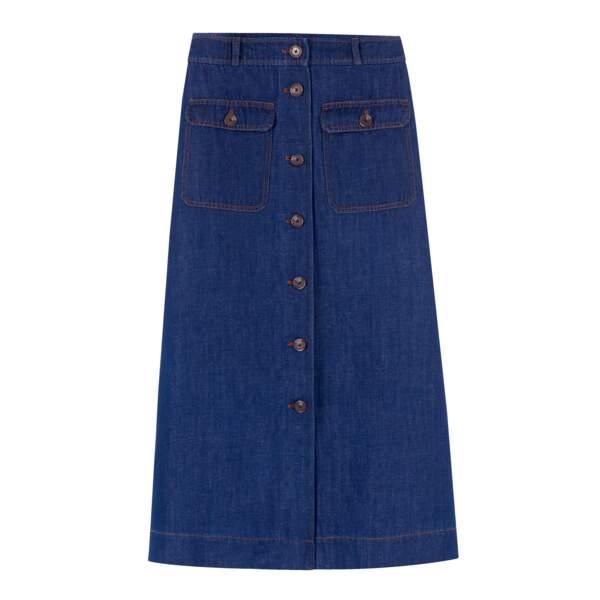 Jupe en coton et lin, 39,99€, Monoprix sur www.monoprix.fr