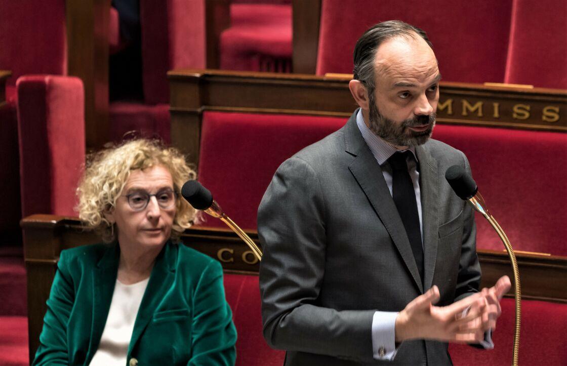 Muriel Pénicaud et Edouard Philippe à l'Assemblée nationale, en 2020.