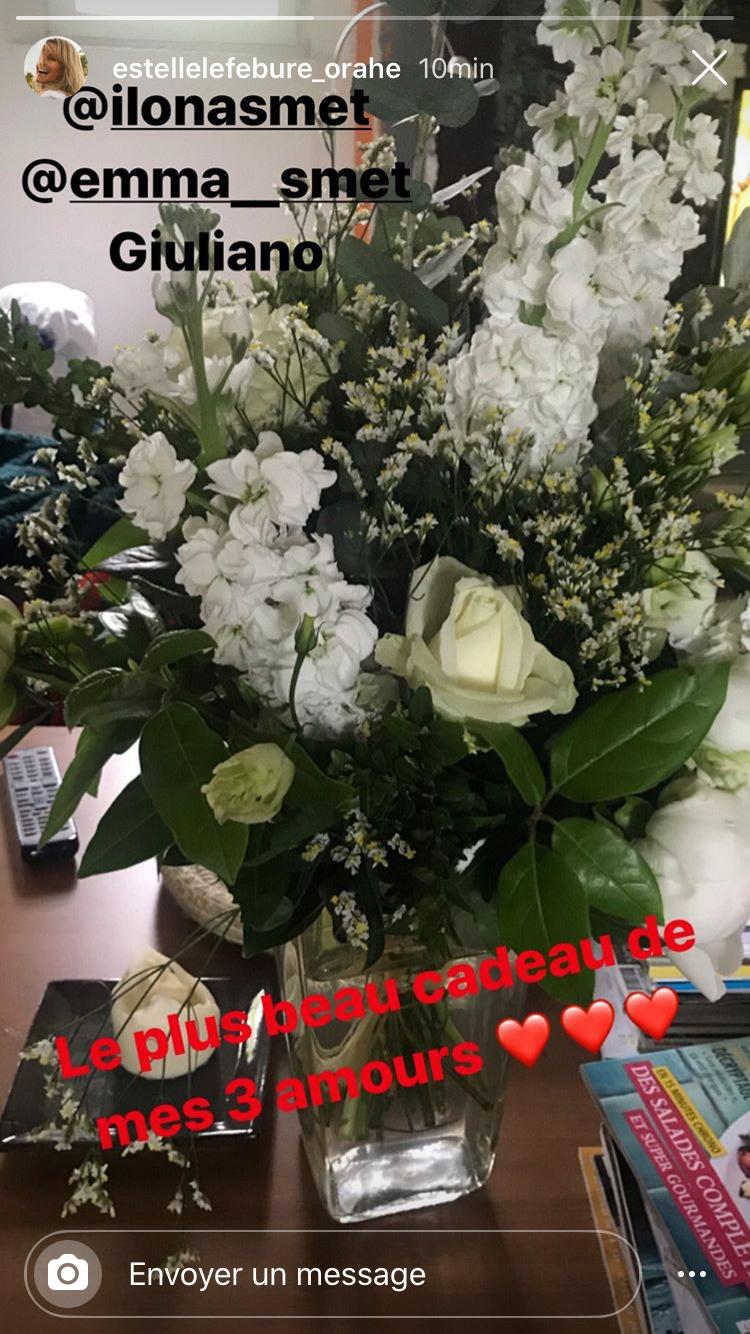 Estelle Lefébure partage sur Instagram le joli bouquet que lui ont offert ses trois enfants.