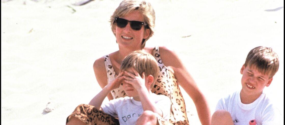 Lady Diana à la plage avec ses fils Harry et William