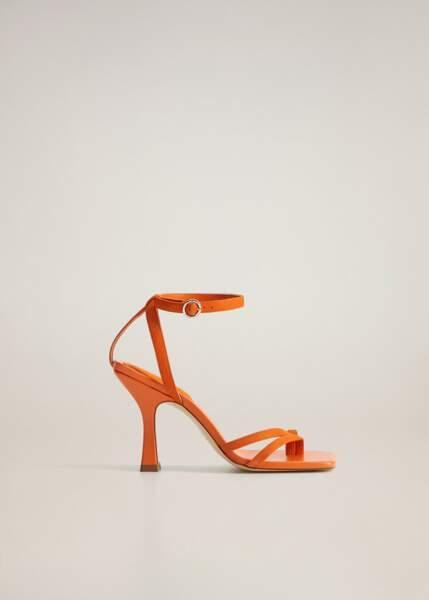 Sandales cuir asymétriques à talons pyramides, 69,99€, Mango