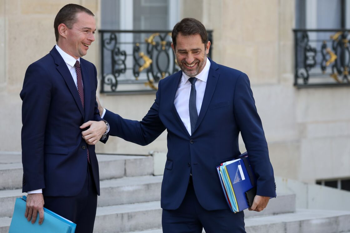 Christophe Castaner et Olivier Dussopt, au palais de l'Elysée, le 24 juillet 2019.
