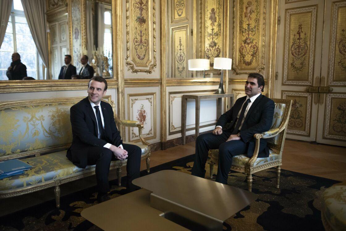 Emmanuel Macron et Christian Jacob lors d'un entretien à l'Elysée, le 4 février 2019.