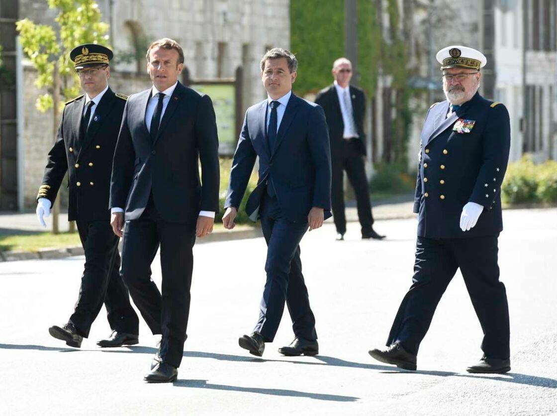 Emmanuel Macron a convié Gérald Darmanin à la commémoration de la bataille de France en hommage au général De Gaulle à Dizy le Gros dans l'Aisne, le 17 mai 2020.