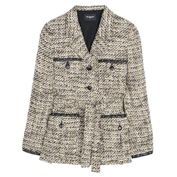 Veste tweed en coton mélangé et détails cuir d'agneau, 415 €, The Kooples.