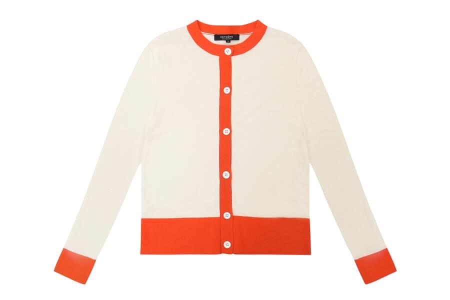 Cardigan en coton et soie, 85€, Esthème Cachemire.