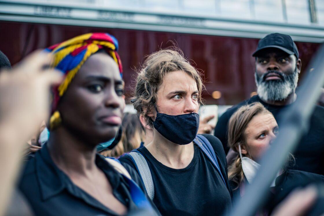 Aïssa Maïga, Adèle Haenel et Sara Forestier lors de la marche pour Adama Traoré, à Paris, le 2 juin 2020.