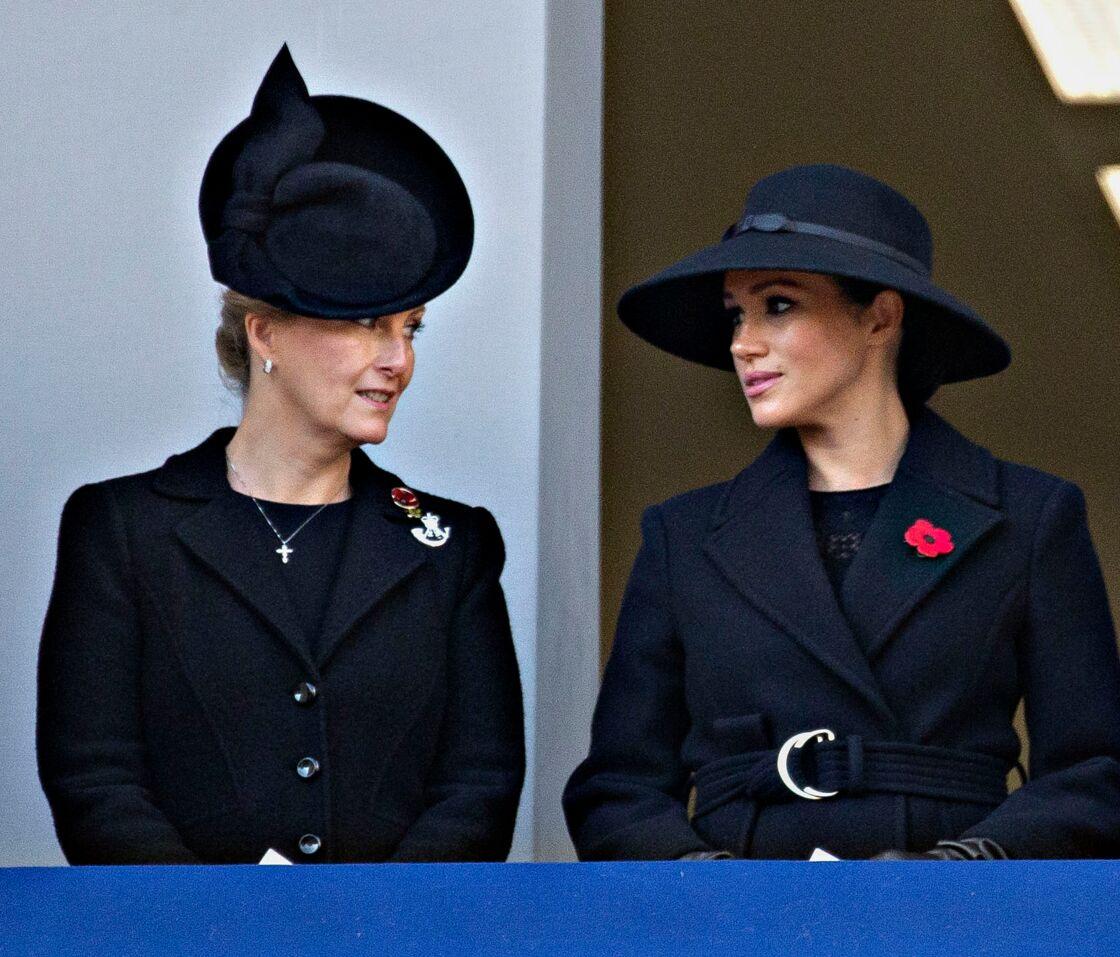 Sophie de Wessex et Meghan Markle lors du National Service of Remembrance à Londres le 10 novembre 2019.