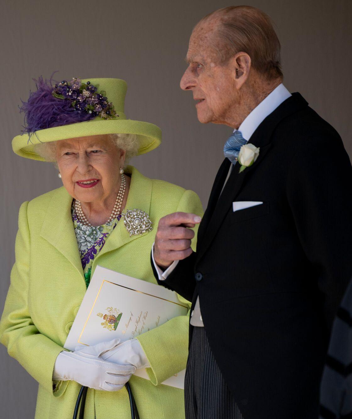 La reine Elizabeth II et le prince Philip à la chapelle St. George pour le mariage du prince Harry et de Meghan Markle au château de Windsor, en mai 2018.