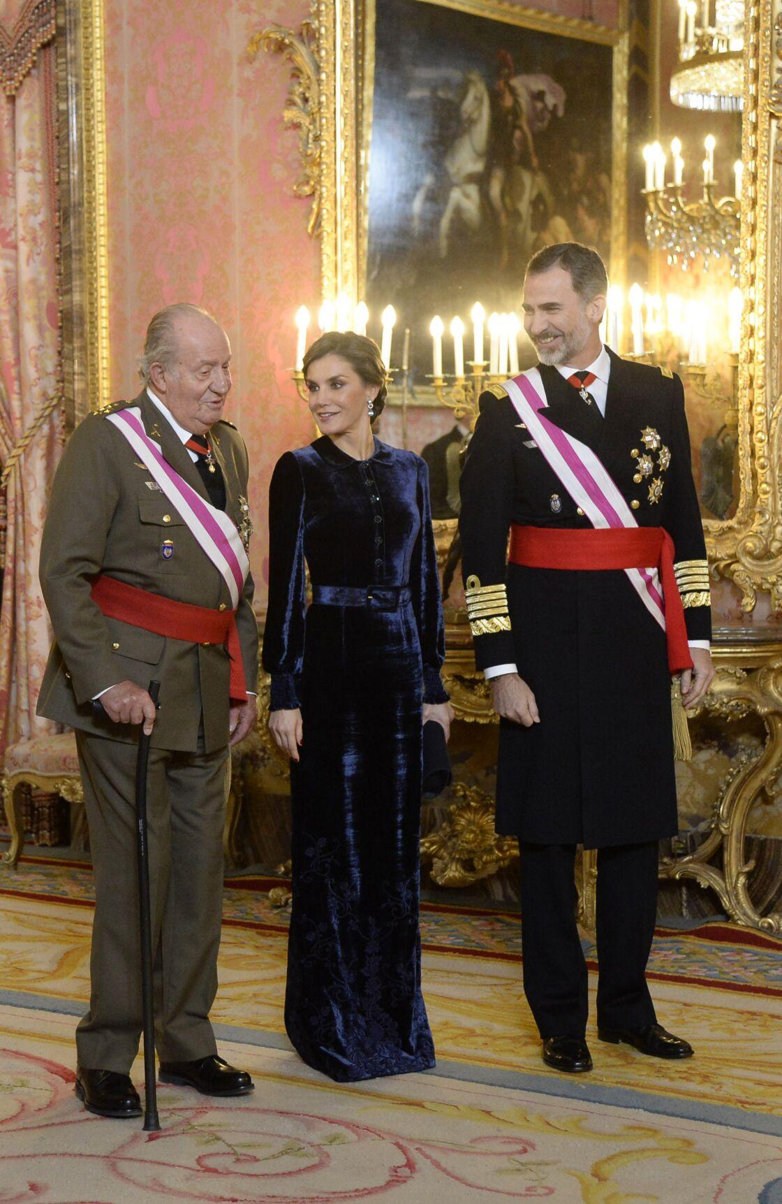 Juan Carlos, Letizia et Felipe d'Espagne à Madrid le 6 janvier 2018