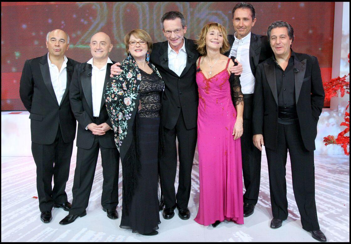 L'équipe des Bronzés avec le réalisateur Patrice Leconte, le 5 décembre 2005