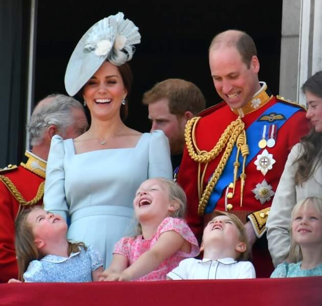 Savannah Phillips et le prince George émerveillés par la parade Tooping the colour en 2018