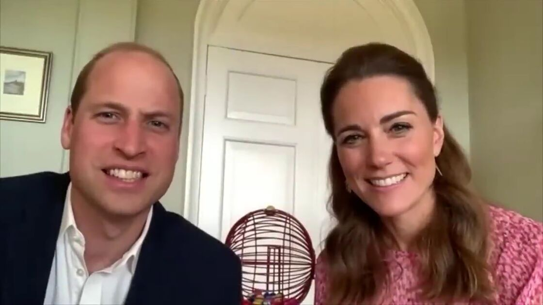 Le prince William et Kate Middleton lors d'un Bingo en visioconférence le 22 mai 2020
