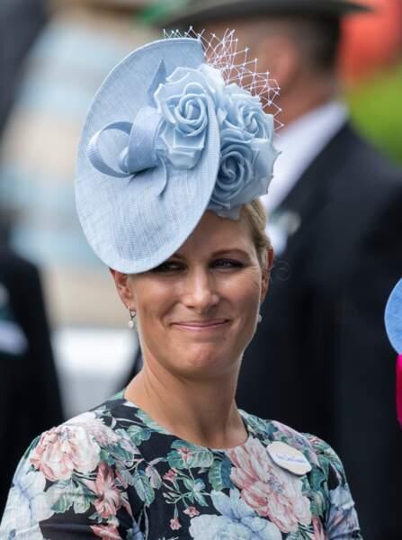 Zara Phillips (Zara Tindall) ors de la première journée des courses d'Ascot 2019, à Ascot, Royaume Uni, le 18 juin 2019.