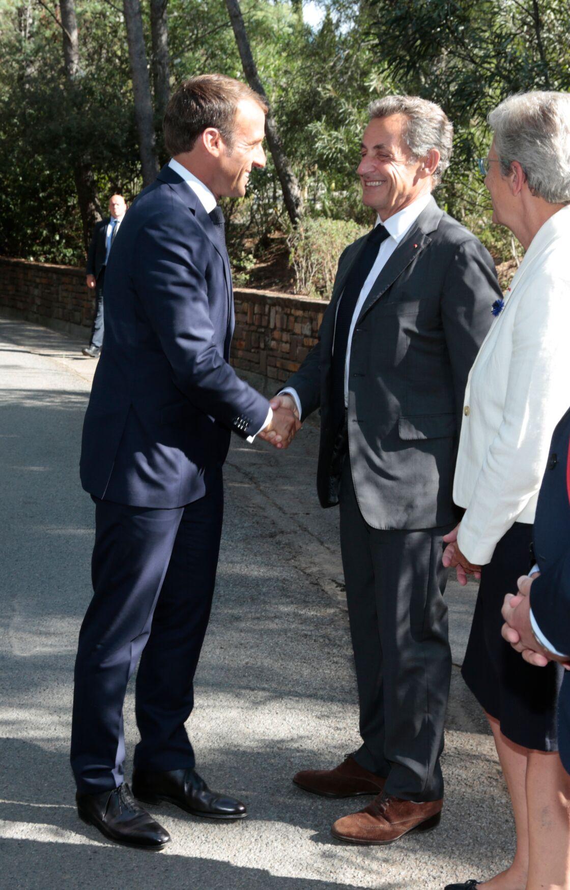 Emmanuel Macron et Nicolas Sarkozy, le 15 août 2019