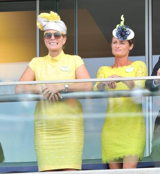 Zara Phillips en total look jaune à Ascot le 16 juin 2015.