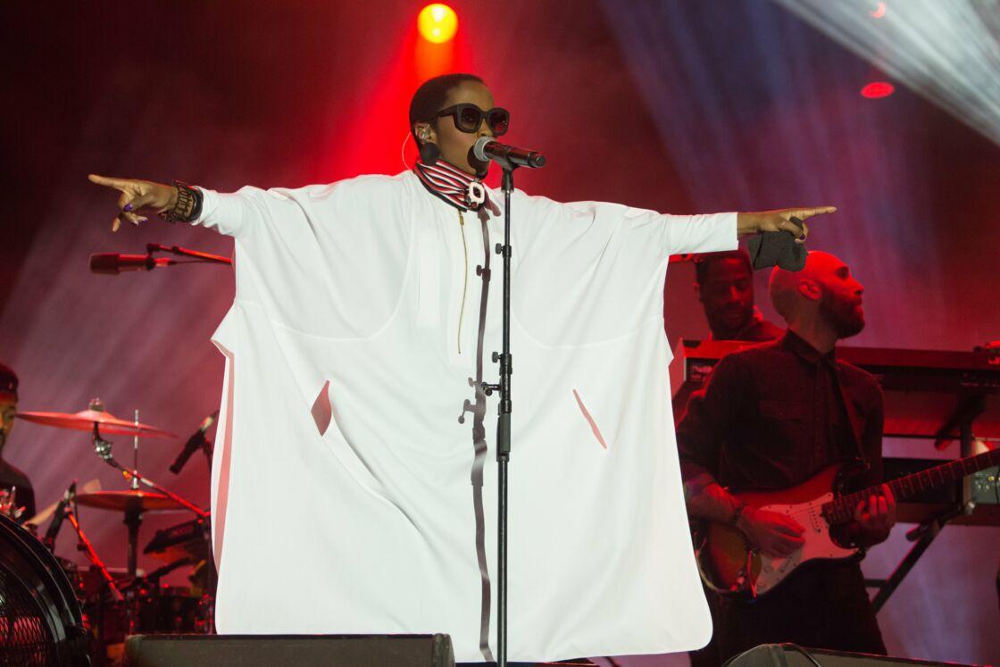 Lauryn Hill en concert à la fête de l'Humanité au Parc départemental Georges-Valbon à La Courneuve, France, le 9 septembre 2016.