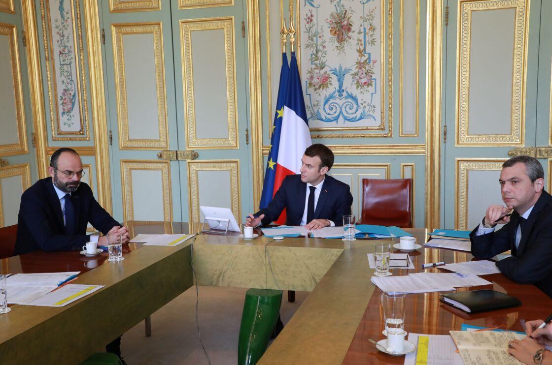 Édouard Philippe, Emmanuel Macron et Alexis Kohler, le 19 mars 2020