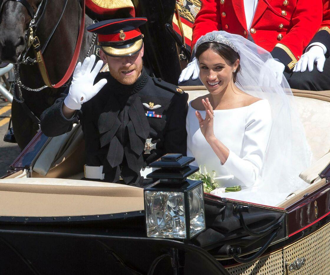 Le prince Harry et Meghan Markle lors de leur mariage, le 19 mai 2018