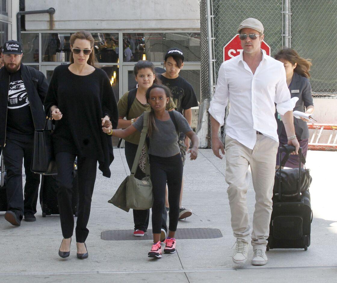 Angelina Jolie, Brad Pitt et les enfants le 14 juin 2014