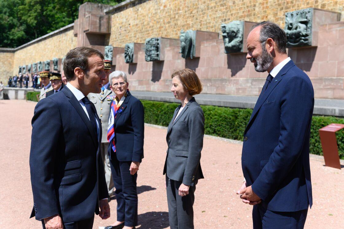 Emmanuel Macron, Florence Parly et Édouard Philippe, le 18 juin 2020