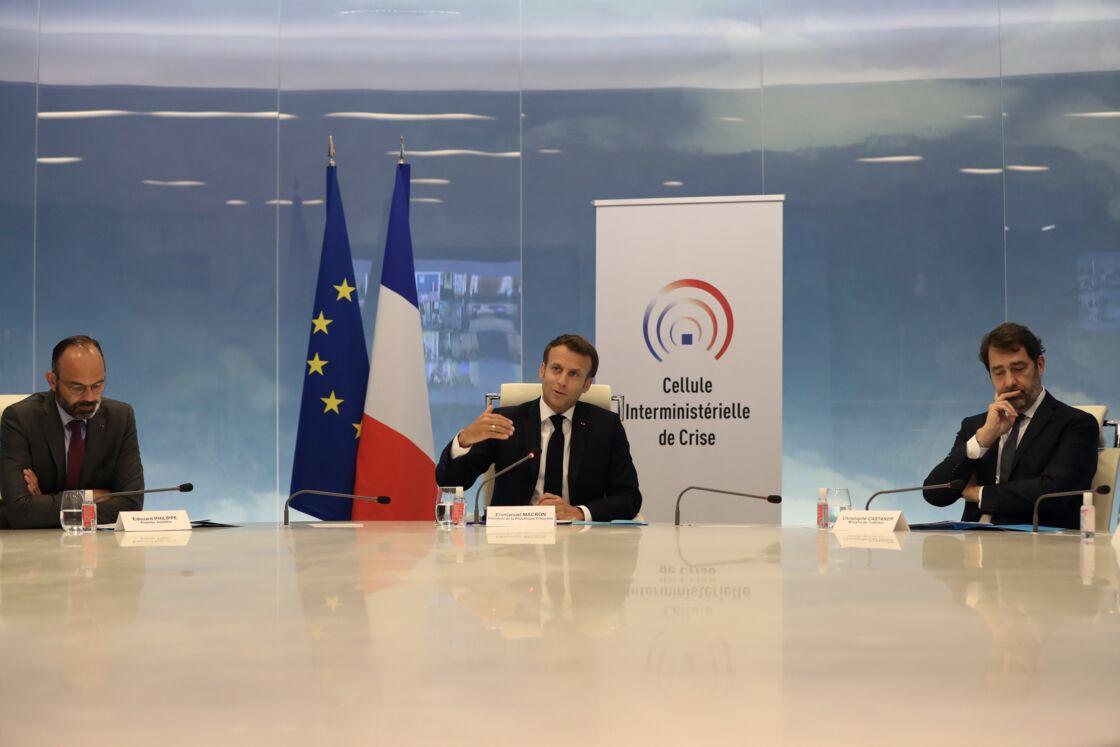 Édouard Philippe, Emmanuel Macron et Christophe Castaner, le 13 mai 2020
