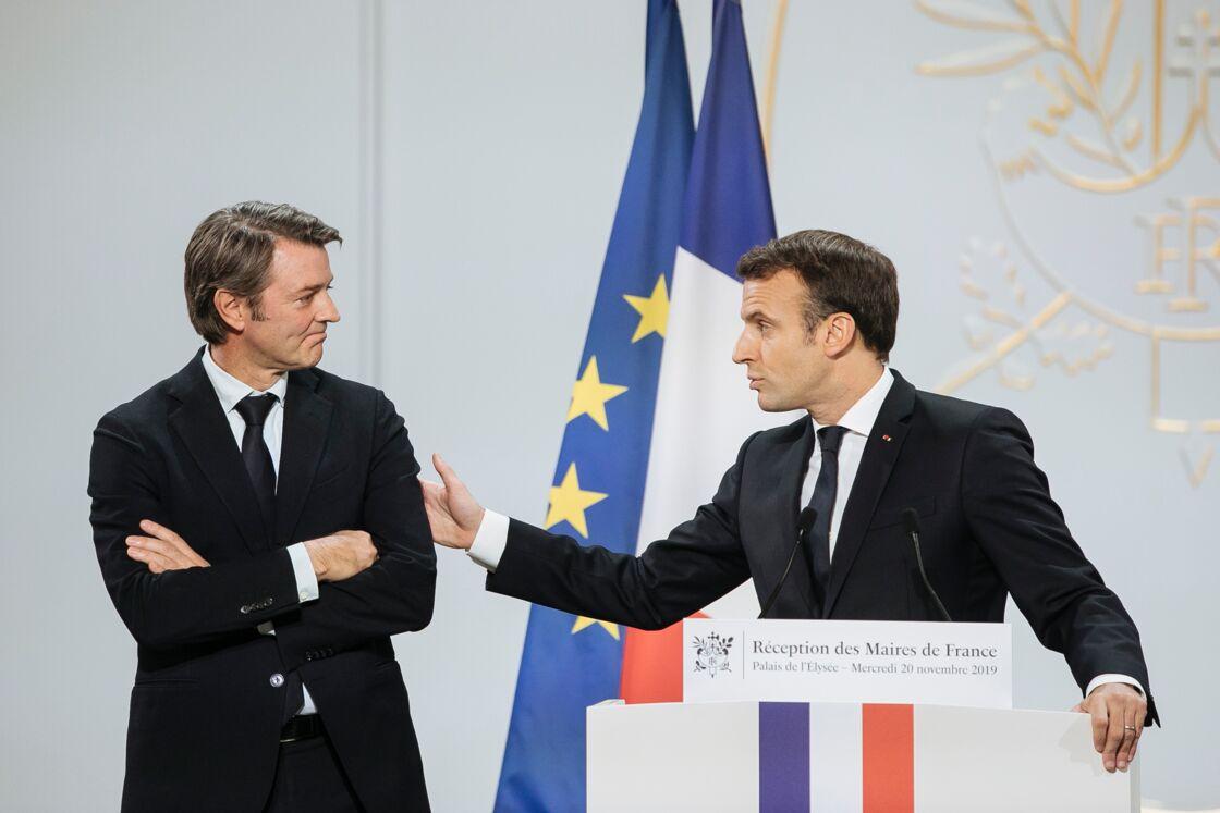François Baroin et Emmanuel Macron, lors de la réception des Maires de France, le 20 novembre 2019