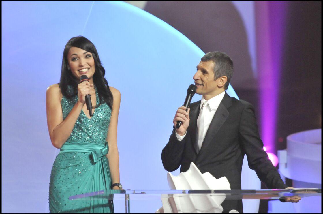 Valérie Bègue et Nagui lors de la 23e cérémonie des Victoires de la musique, au Zénith de Paris, en 2008.