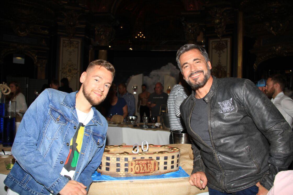 Jeremstar et Olivier Minne à Paris le 17 juin 2019 lors de l'entrée du père Fouras au musée Grévin à l'occasion des 30 ans de l'émission télé Fort Boyard.