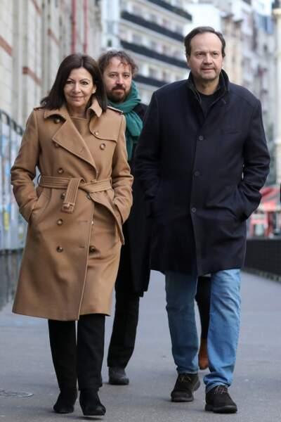 La Maire de Paris Anne Hidalgo et son mari Jean-Marc Germain lors du premier tour des municipales 2020