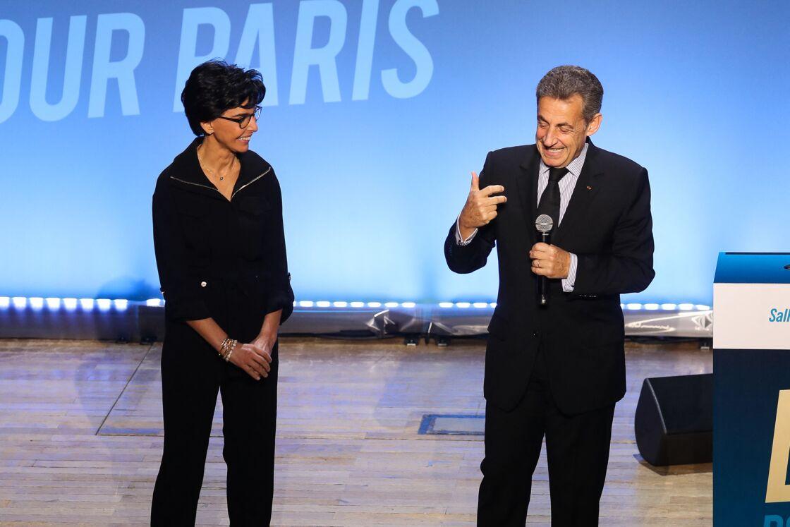 Rachida Dati et Nicolas Sarkozy lors d'une réunion publique à Paris