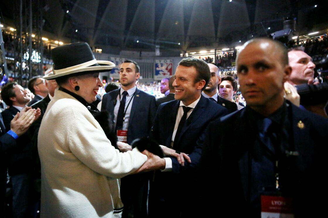 Geneviève de Fontenay et Emmanuel Macron à Lyon, le 4 février 2017