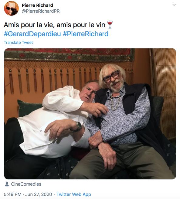 Gérard Depardieu et Pierre Richard sur Twitter