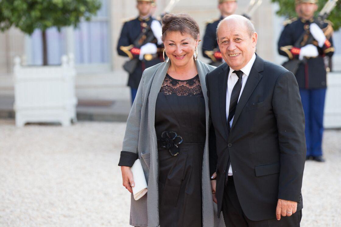Maria Vadillo et Jean-Yves Le Drian à un dîner d'état avec le roi Felipe VI et la reine Letizia d'Espagne à l'Élysée, le 2 juin 2015.