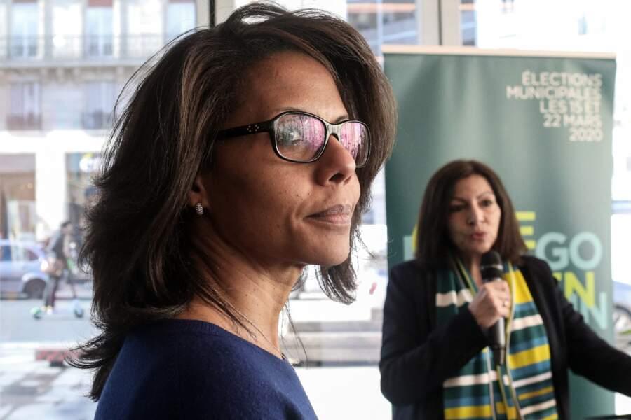 Avec la maire Anne Hidalgo, Audrey Pulvar présente le plan 'Priorité Piéton', le 25 février 2020.