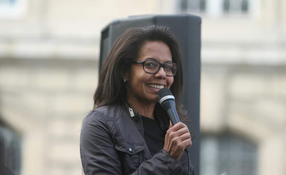 Audrey Pulvar, lors d'une manifestation contre le racisme et les violences policières place de la République à Paris le 9 juin 2020.